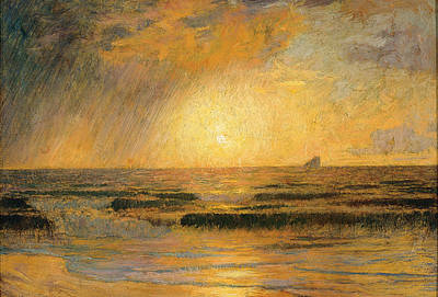 Menard Painting - Sunset On The Sea by Rene Menard