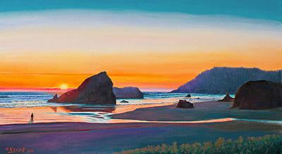 Sunset - Oregon Coast Print by Paul Krapf