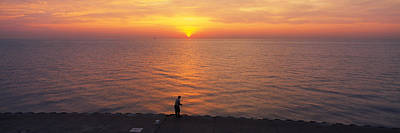 Evening Scenes Photograph - Sunset Over A Lake, Lake Michigan by Panoramic Images