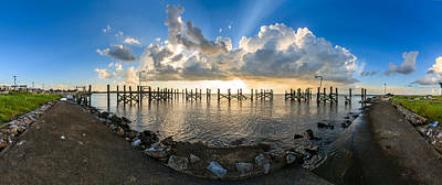 Evening Scenes Photograph - Sunset Over A Lake, Lake Pontchartrain by Panoramic Images