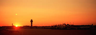 International Airport Photograph - Sunset Over An Airport, Ohare by Panoramic Images