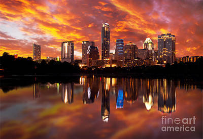 Sunset Over Austin Print by Randy Smith