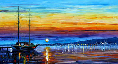 Sunset Over Eternity - Palette Knife Oil Painting On Canvas By Leonid Afremov Original by Leonid Afremov