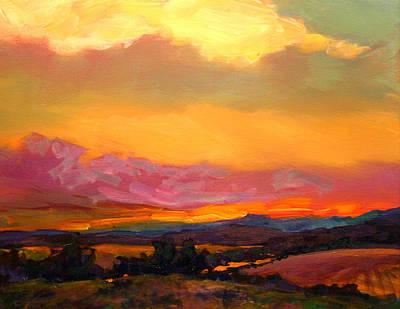 Savlen Painting - Sunset Over Green Mountains by Savlen Art