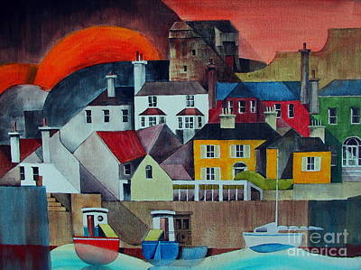 Sunset Over Howth Print by Val Byrne
