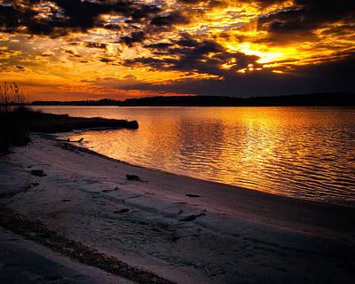 Beach Photograph - Sunset Over Little Assawoman Bay by Bill Swartwout