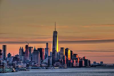 Sunset Over Lower Manhattan Print by F. M. Kearney