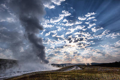 Wyoming Photograph - Sunset Over Old Faithful - Horizontal by Andres Leon