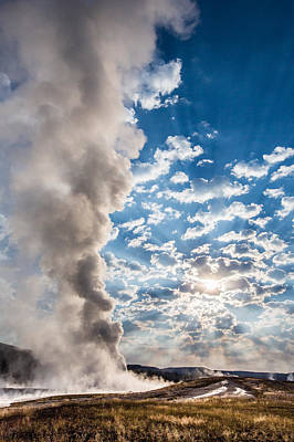 Purple Photograph - Sunset Over Old Faithful - Vertical by Andres Leon