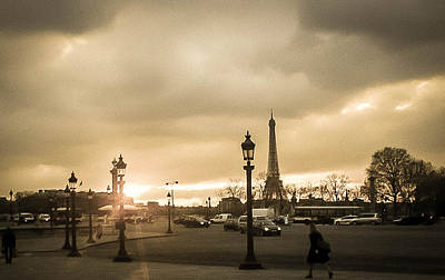 Sunset Over Paris Print by Steven  Taylor