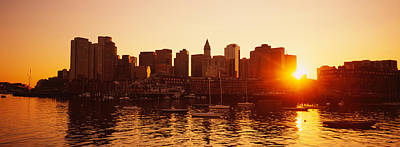 Romantic Location Photograph - Sunset Over Skyscrapers, Boston by Panoramic Images