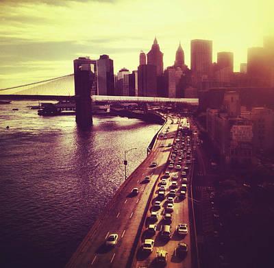 Sunset Over The Brooklyn Bridge And New York City Skyline Print by Vivienne Gucwa