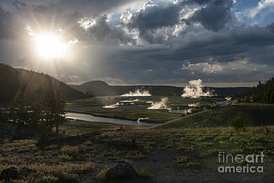 Sunset Over The Firehole River - Yellowstone Print by Sandra Bronstein