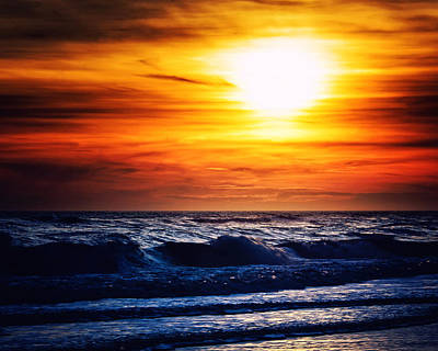 Sunset Over The Ocean Print by Vicki Jauron