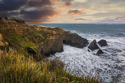 Sunset Over The Oregon Coast Print by Debra and Dave Vanderlaan