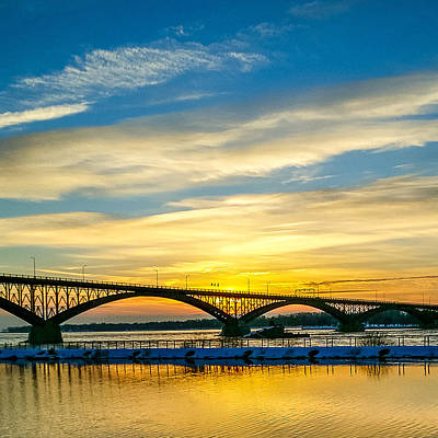 Sunset Over The Peace Bridge Print by Chris Bordeleau