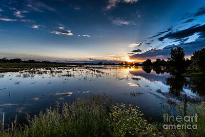 A Summer Evening Landscape Photograph - Sunset Over The River by Steven Reed