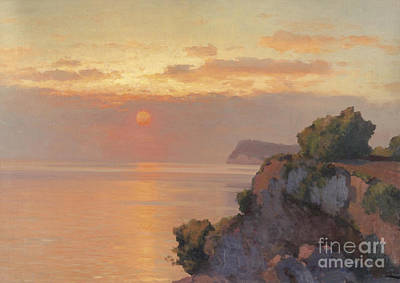 Slavic Painting - Sunset Over The Sea by Celestial Images