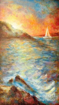 House Decoration Art Painting - Sunset Over The Sea. by Martin Capek