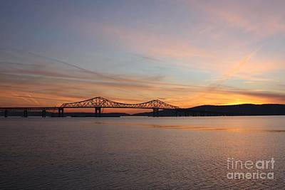 Reflections In River Photograph - Sunset Over The Tappan Zee Bridge by John Telfer