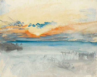 Joseph Mallord William Turner Painting - Sunset Over Water by Joseph Mallord William Turner