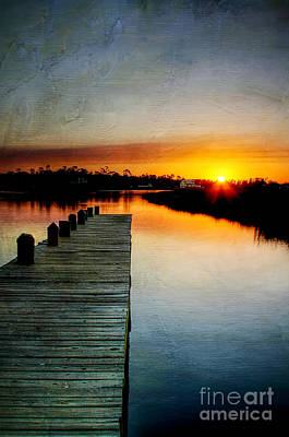 Sunset Pier Print by Joan McCool