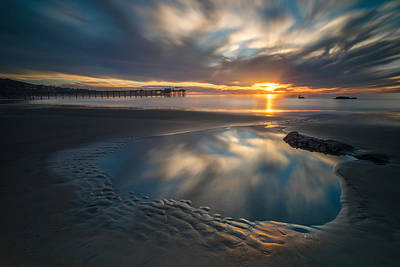 Sunset Reflections In San Diego Landscape Version Print by Larry Marshall