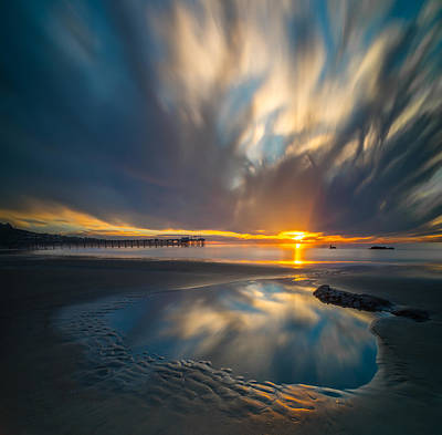 Long Exposure Photograph - Sunset Reflections In San Diego Square Version by Larry Marshall