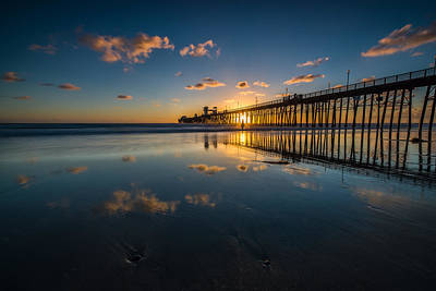 California Ocean Photograph - Sunset Reflections by Larry Marshall