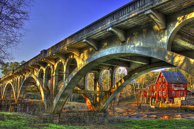Dickson Photograph - Sunset Reflections Millmore Mill Ga Hwy 16 Bridge Hancock County by Reid Callaway