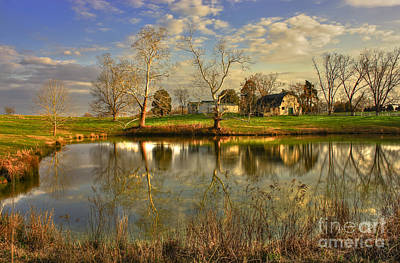 Sky Writer Photograph - Sunset Reflections Uncle Remus Author Joel Chandler Harris Home Pond by Reid Callaway