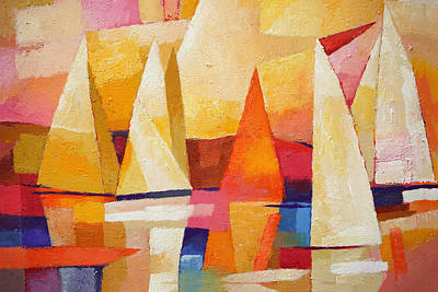 Abstract Seascape Painting - Sunset Regatta by Lutz Baar