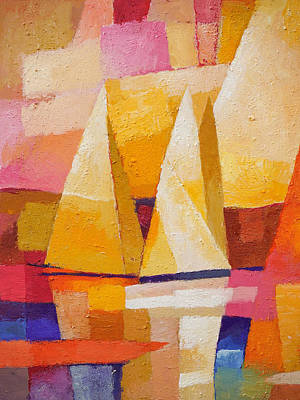 Abstract Seascape Painting - Sunset Sailboats by Lutz Baar