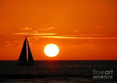 Beach Art Photograph - Sunset Sailing by Kristine Merc