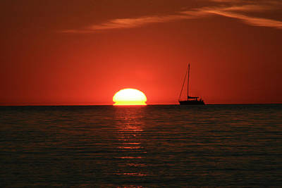 Sunset Sailing Print by Michael Allen