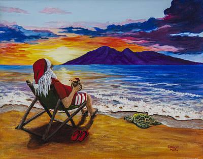 Ocean Turtle Painting - Sunset Santa by Darice Machel McGuire