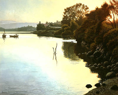Disciples Painting - Sunset  Sea Of Galilee  Israel by Graham Braddock