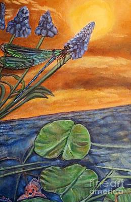 Sunset Setting Over A Dragonfly On A Water Lily Pond Print by Kimberlee  Baxter