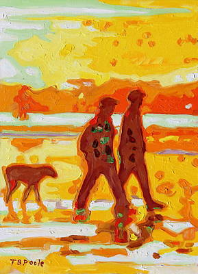 Sunset Silhouette Carmel Beach With Dog Print by Thomas Bertram POOLE