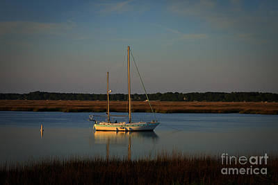 Best Sailing Photograph - Sunset Sailboat At Beaufort Sc by Reid Callaway