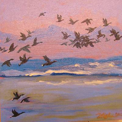 Snow Geese Painting - Sunset Snow Geese Fly-out by Dori Marshall