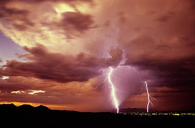 Lightning Photograph - Sunset Storm As Seen From The Tucson by Thomas Wiewandt