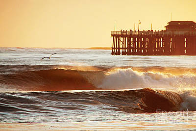 Santa Cruz Pier Photograph - Sunset Surf Santa Cruz by Paul Topp