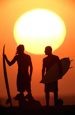 Surf Lifestyle Photograph - Sunset Surfers by Sean Davey