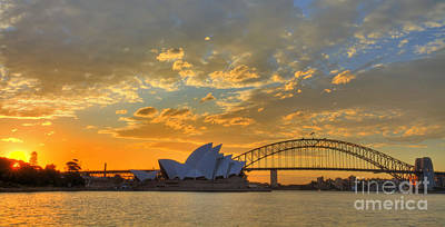 Photograph - Sunset Sydney Harbour - Australia by Bryan Freeman