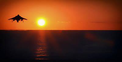 Av-8b Photograph - Sunset Takeoff by Mountain Dreams