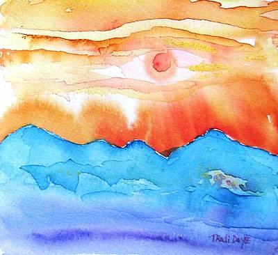 Lanzarote Painting - Sunset Timanfaya  by Trudi Doyle