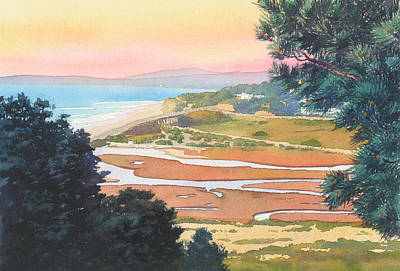 Sunset View From Torrey Pines Print by Mary Helmreich