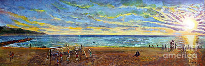 Sunset Volleyball At Old Silver Beach Print by Rita Brown