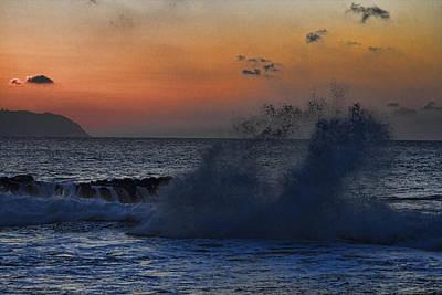 Haleiwa Photograph - Sunset Wave At Haleiwa Beach- Oahu Hawaii by Douglas Barnard